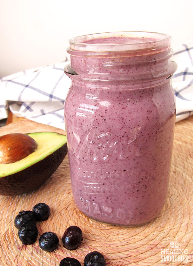 This is no ordinary blueberry smoothie. It's bolste red by an avocado and Greek  yogurt so you're getting healthy fat, potassium, protein, calcium, and fiber.