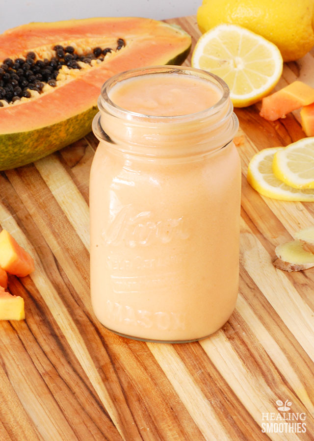 In this fresh papaya smoothie you're getting a large portion of your Vitamin C requirement for the day. Fresh ginger has a cleansing effect on the body and helps with digestion.