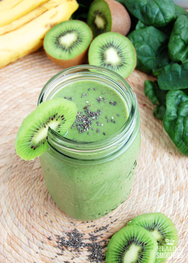 Vitamin C abounds in this spinach kiwi smoothie, with additional nutrients provided by both the kiwi and spinach including fiber, protein, and minerals like potassium.